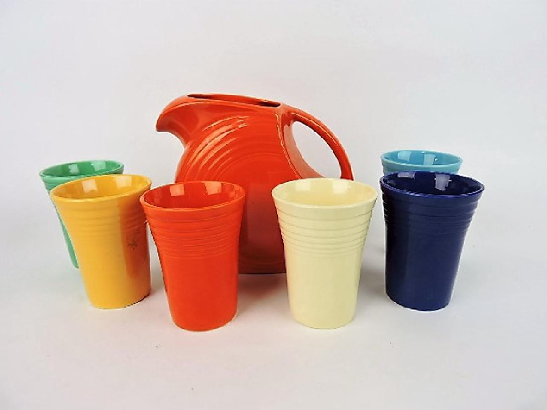 Fiesta 7 piece water set- red disk water pitcher