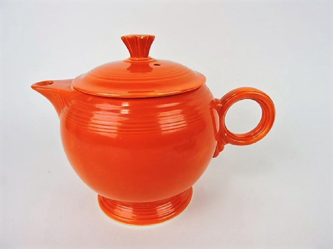 Fiesta large teapot,  red, nick to finial