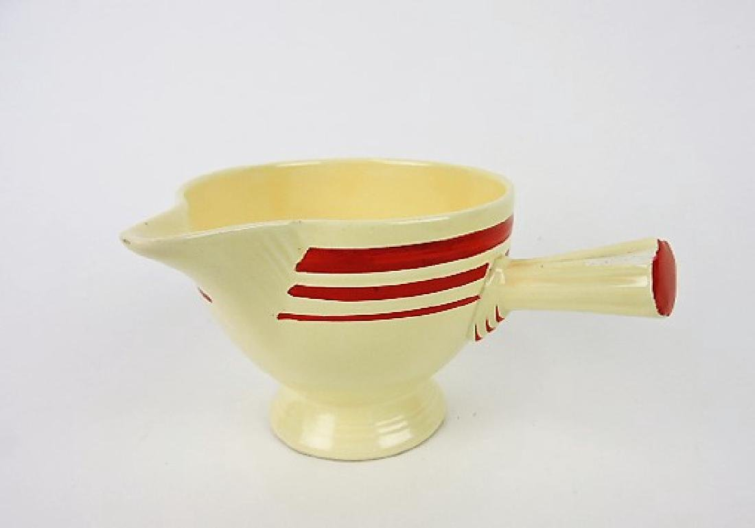 Fiesta stick handled creamer, RARE ivory with red