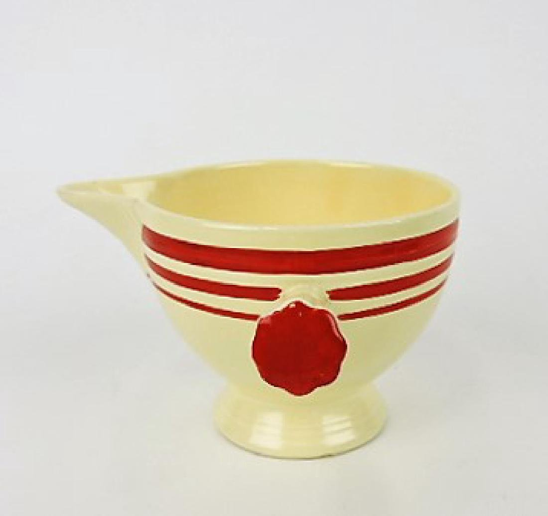 Fiesta stick handled creamer, RARE ivory with red - 3