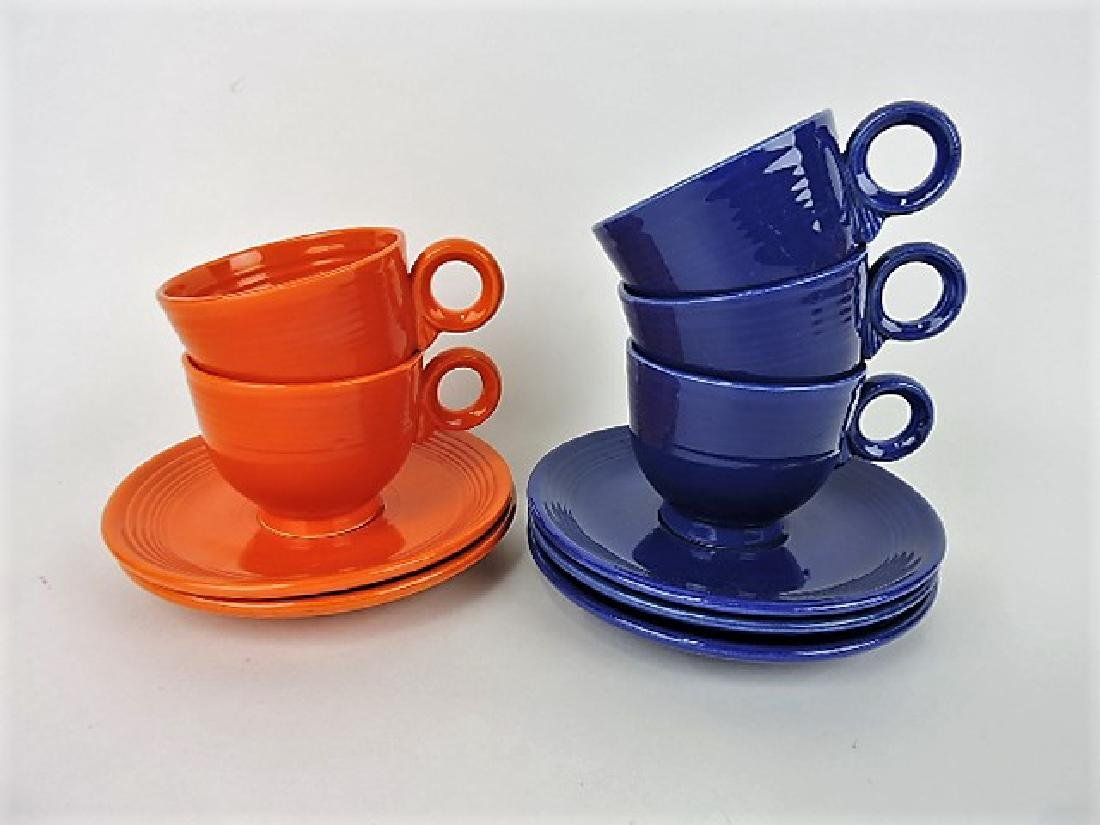 Fiesta cup & saucer group, all flat bottom cups,