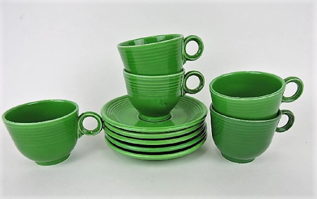 Fiesta cup & saucer group, 5 medium green