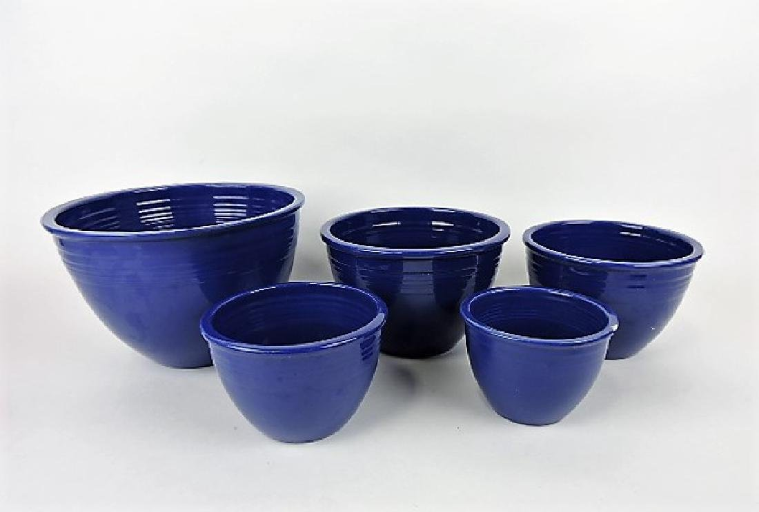 Fiesta mixing bowl lot - 5 cobalt, nicks