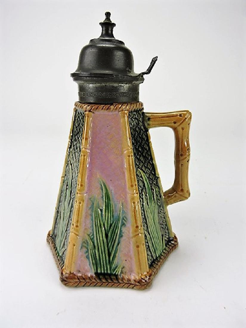 Etruscan majolica bamboo syrup pitcher