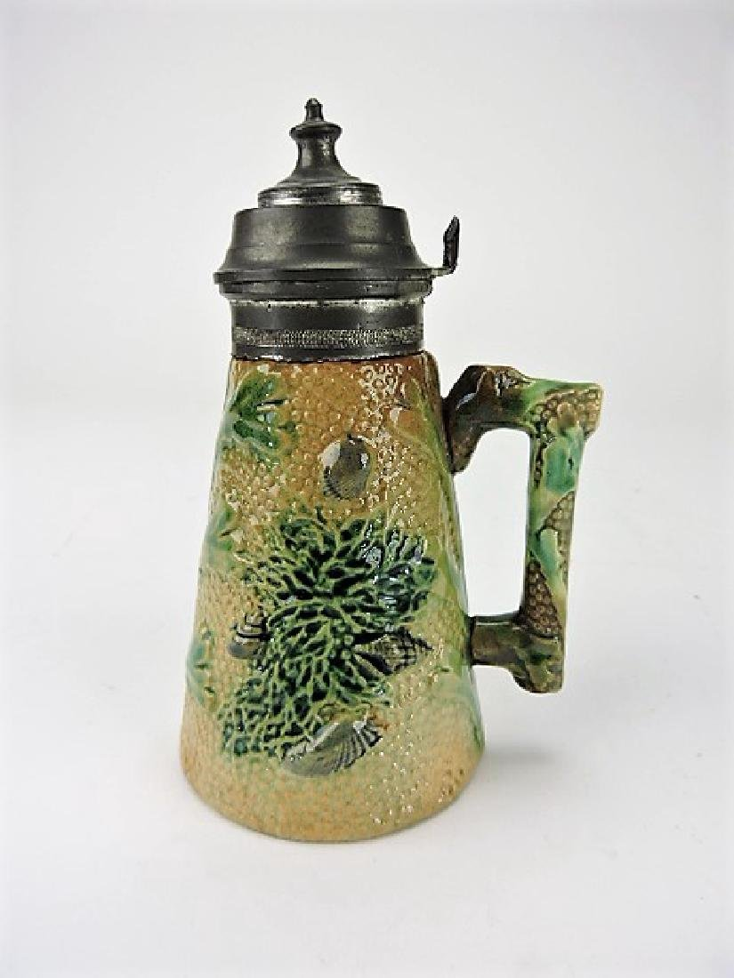Etruscan majolica coral syrup pitcher