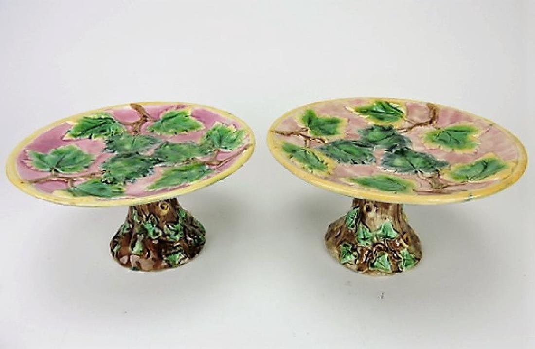 Etruscan majolica lot of 2 maple leaf cake stands