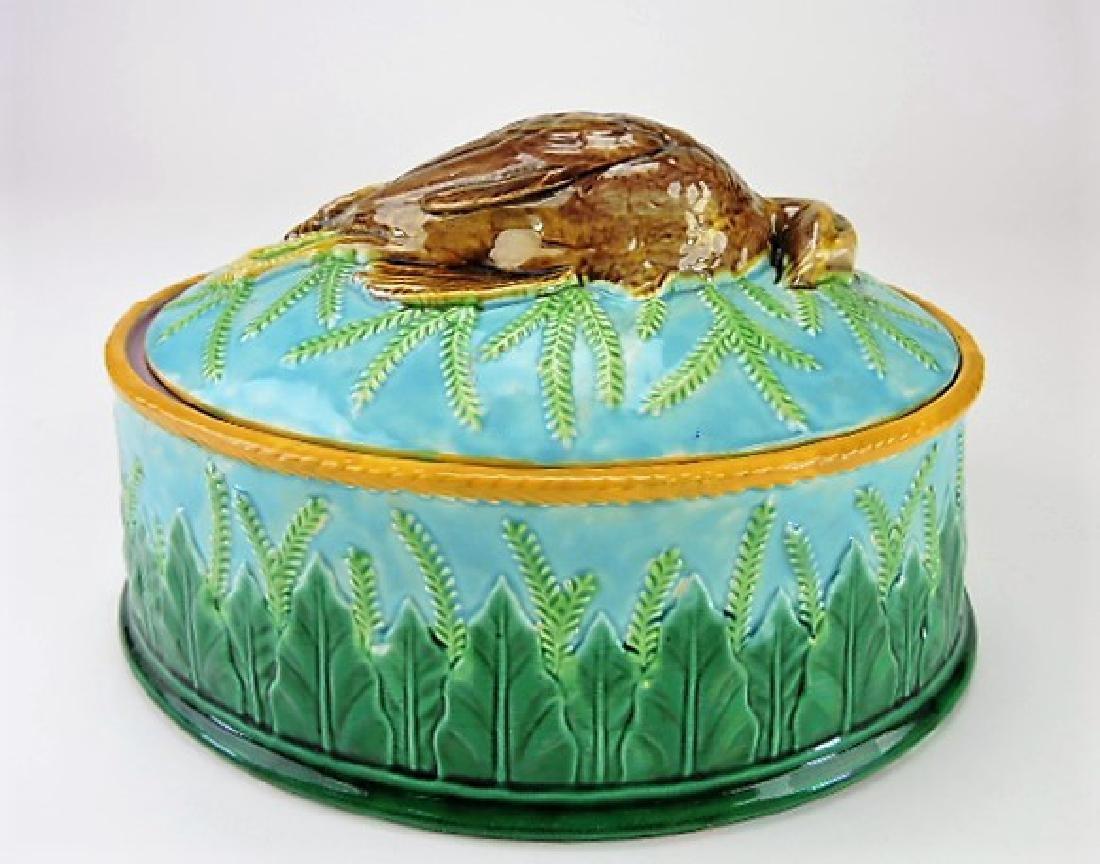 """George Jones majolica quail game dish 12"""""""