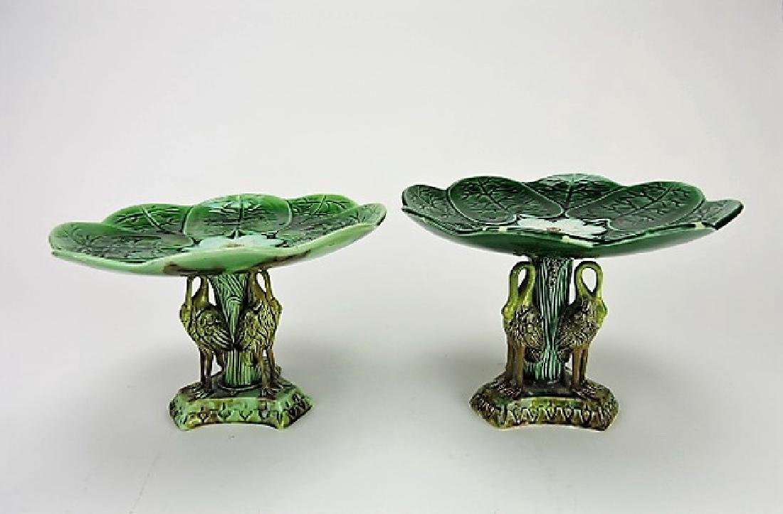 Majolica pond lily lot of 2 cake stands with stork