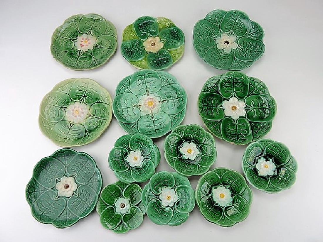 Majolica pond lily lot of 13 plates and sauce