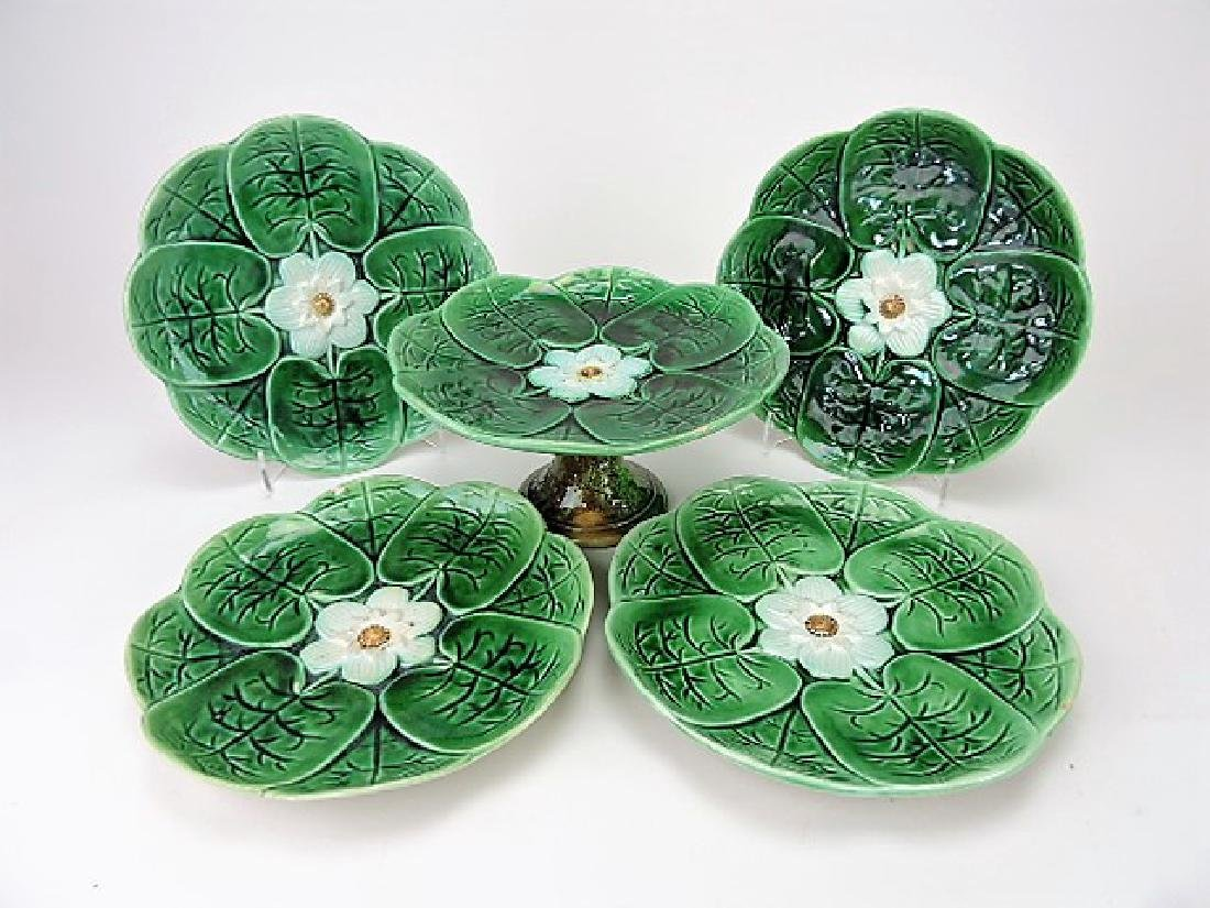 Majolica pond lily dessert set - compote and 4