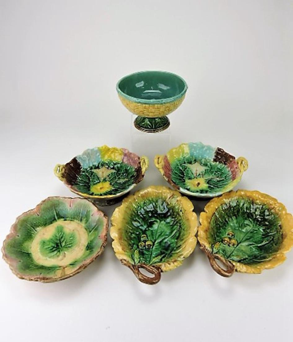 Majolica lot of 6 compotes & platters, various
