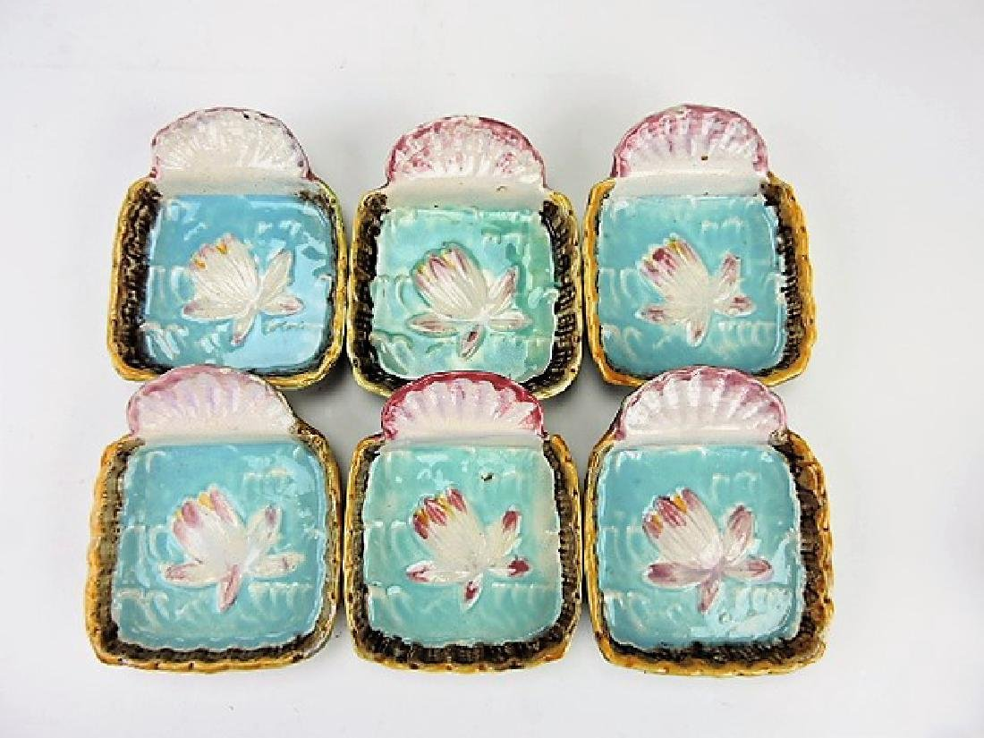 Majolica set of 6 water lily and shell ice cream