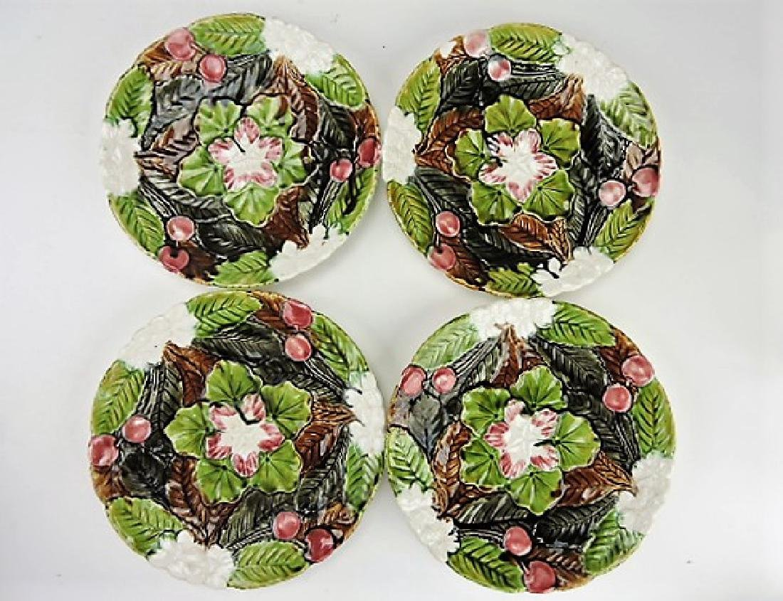 "PV France set of 4 - 9"" majolica cherry plates,"