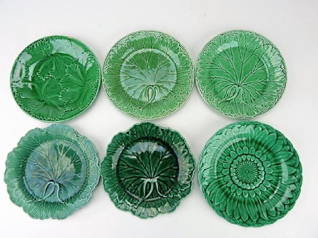 Majolica dark green lot of 6 plates, some