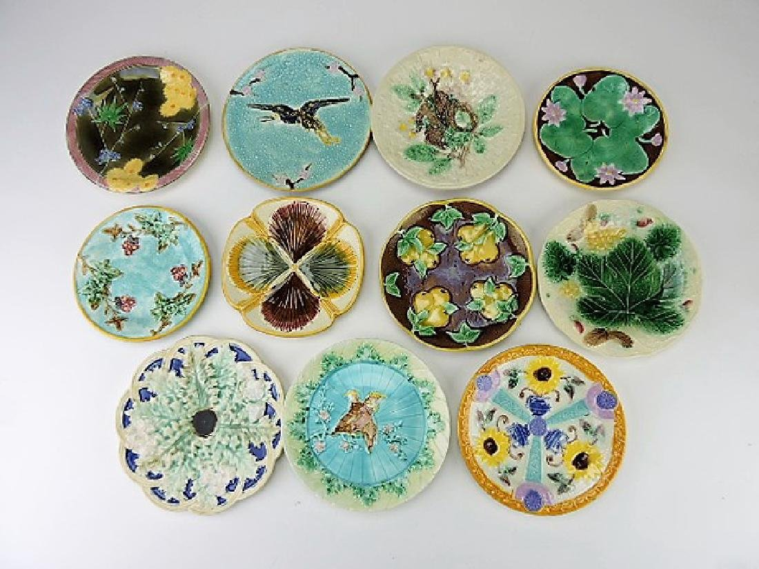 Majolica lot of 11 plates, various condition