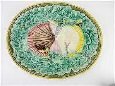 Majolica twin shells on waves platter, 13 1/2""