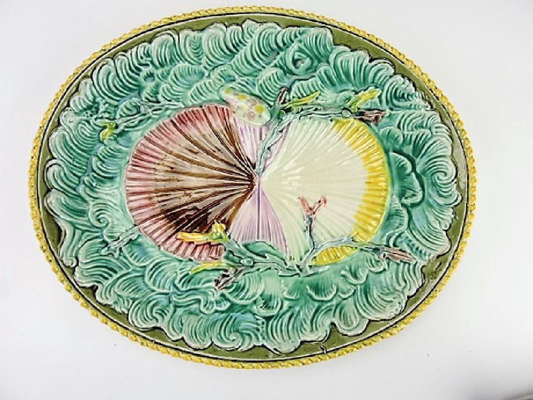 "Majolica twin shells on waves platter, 13 1/2"""