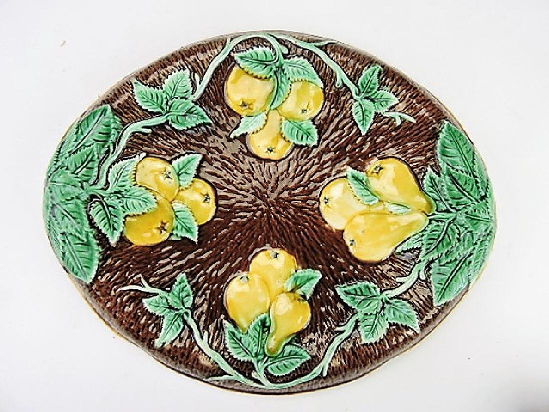 "Majolica apple and pear platter, 13"", rim chip to"