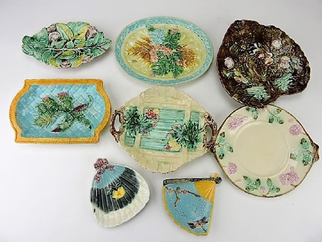 Majolica lot of 8 platters and trays, various cond
