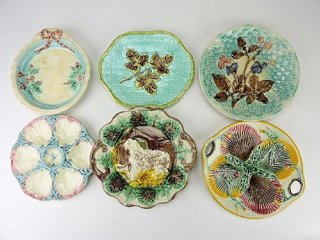 Majolica lot of 6 platters and trays, various cond