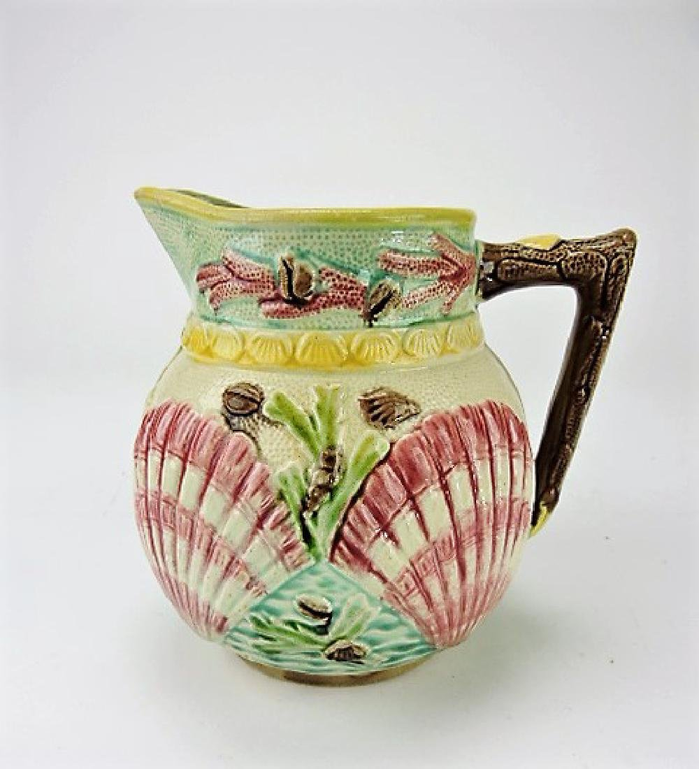 Majolica shell and coral pitcher, 6 1/2""