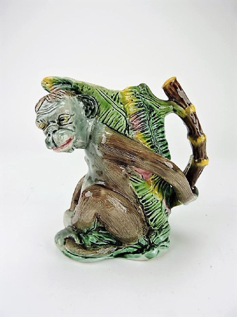 "Majolica monkey pitcher with bamboo handle 7"""