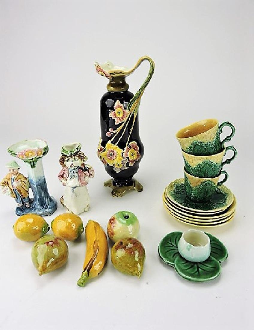Majolica lot of assorted items, various condition