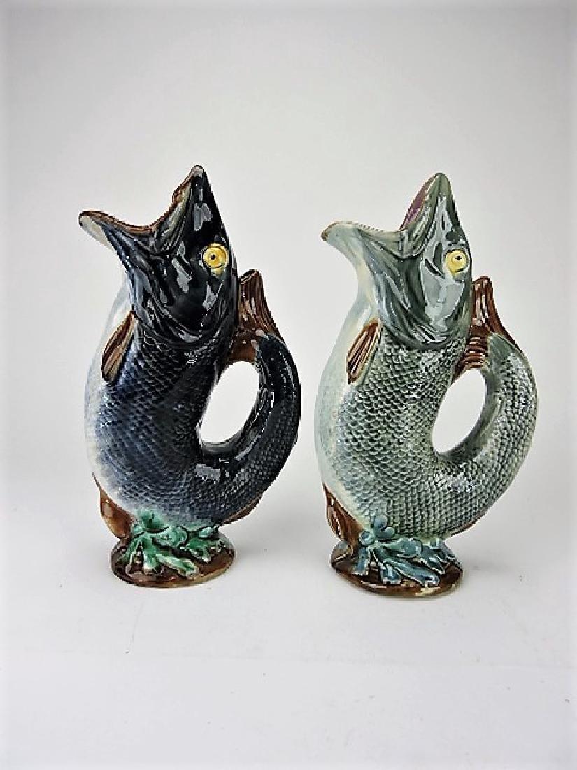 "Majolica lot of 2 gurgling fish pitchers 13"""