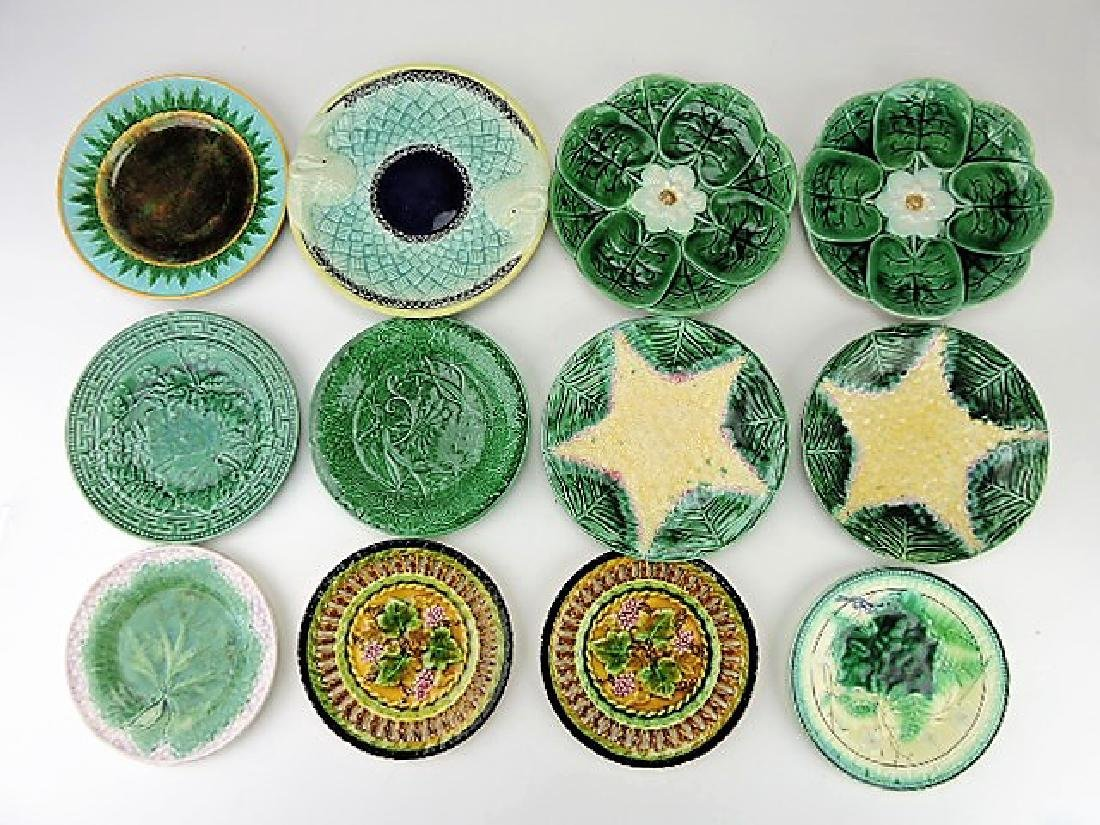 Majolica lot of 12 plates various condition