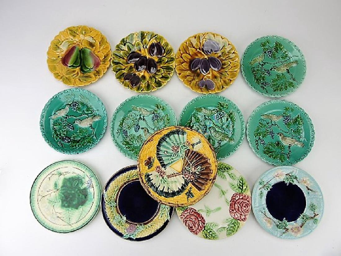 Majolica lot of 13 plates various condition
