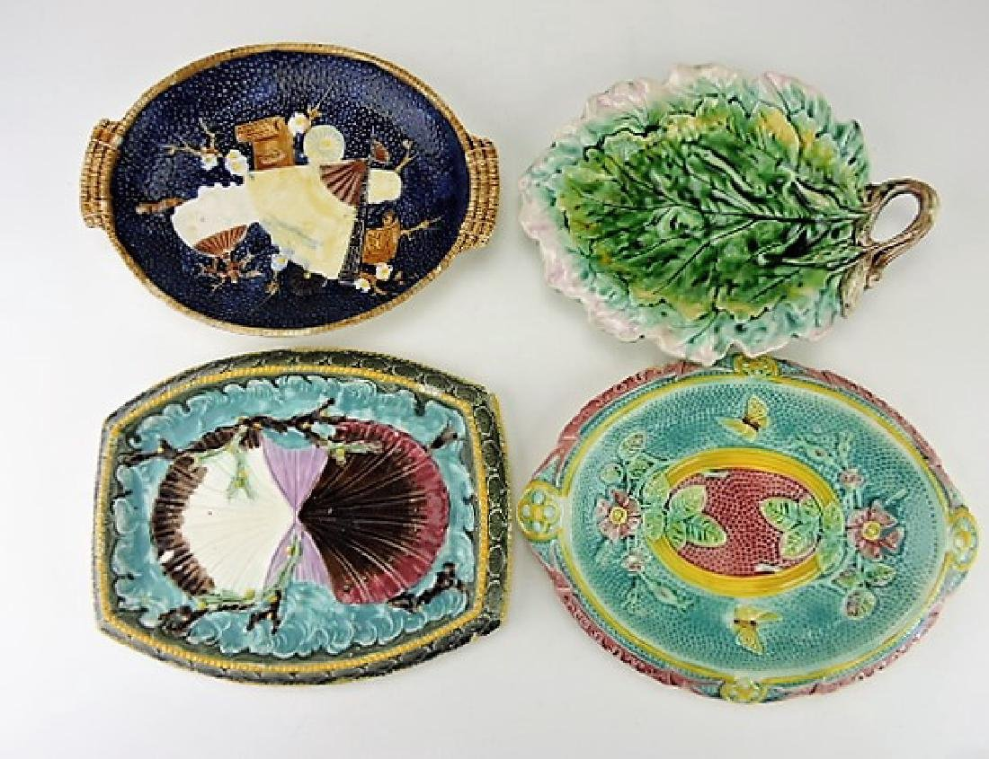 Majolica lot of 4 platters various condition