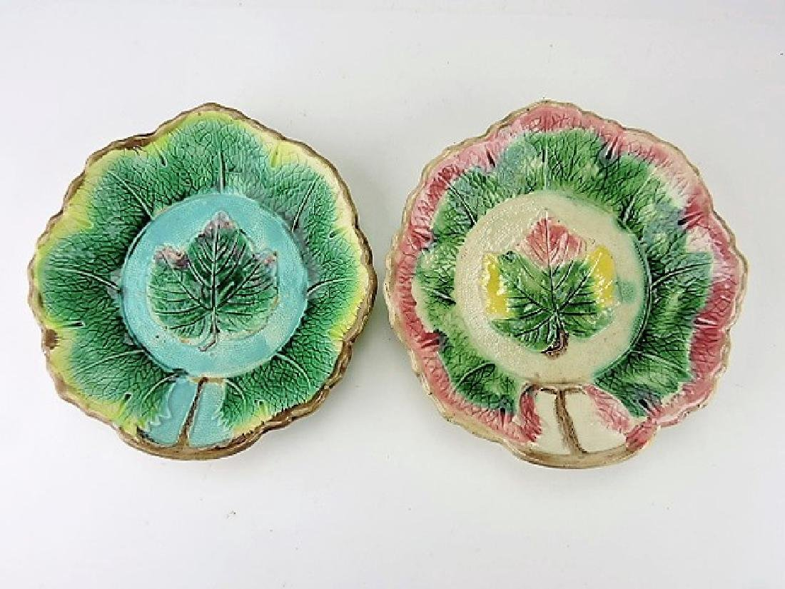 Majolica lot of 2 maple leaf bowls 10""