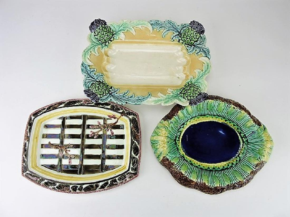 Majolica lot of 3 platters, various condition