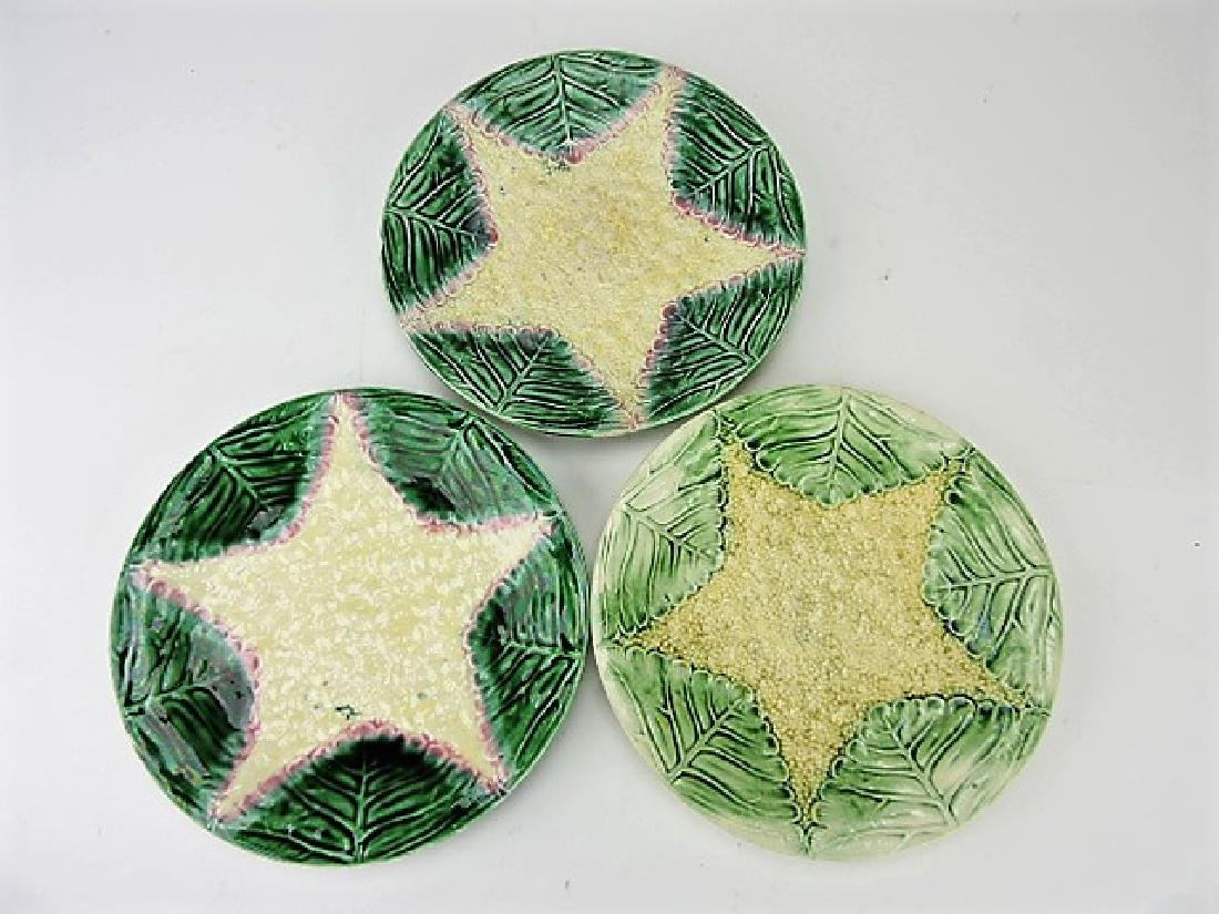 "Etruscan Majolica lot of 3 - 9"" cauliflower plates,"