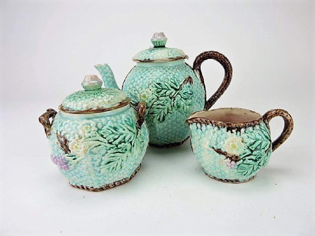 Majolica 3 pc floral tea set, various condition