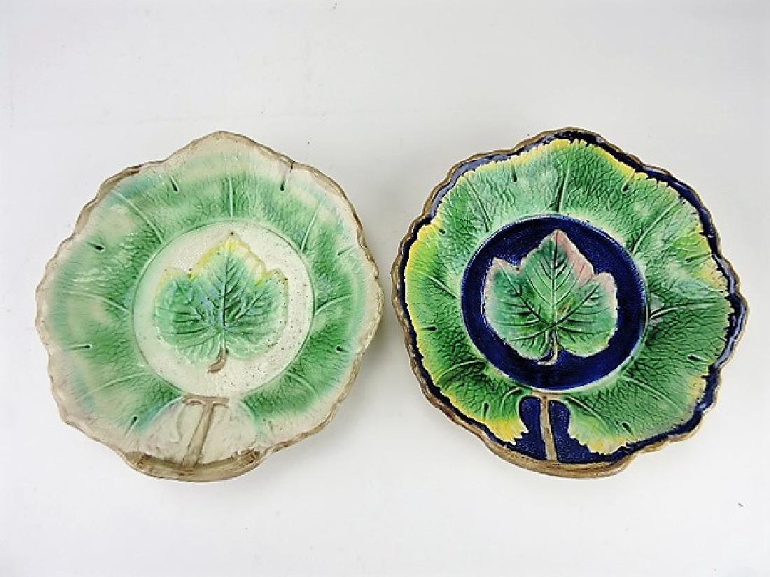 "Majolica lot of 2 - 10"" maple leaf bowls, rim"