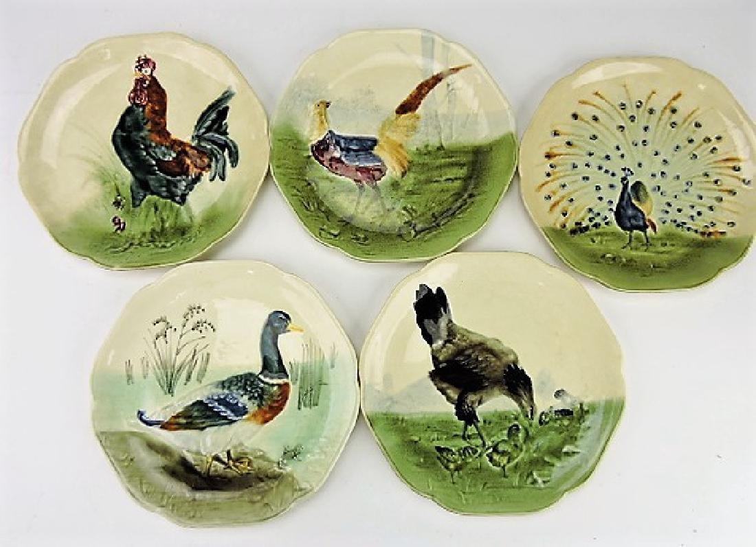 Choisey-le-Roi majolica set of 5 fowl plates,