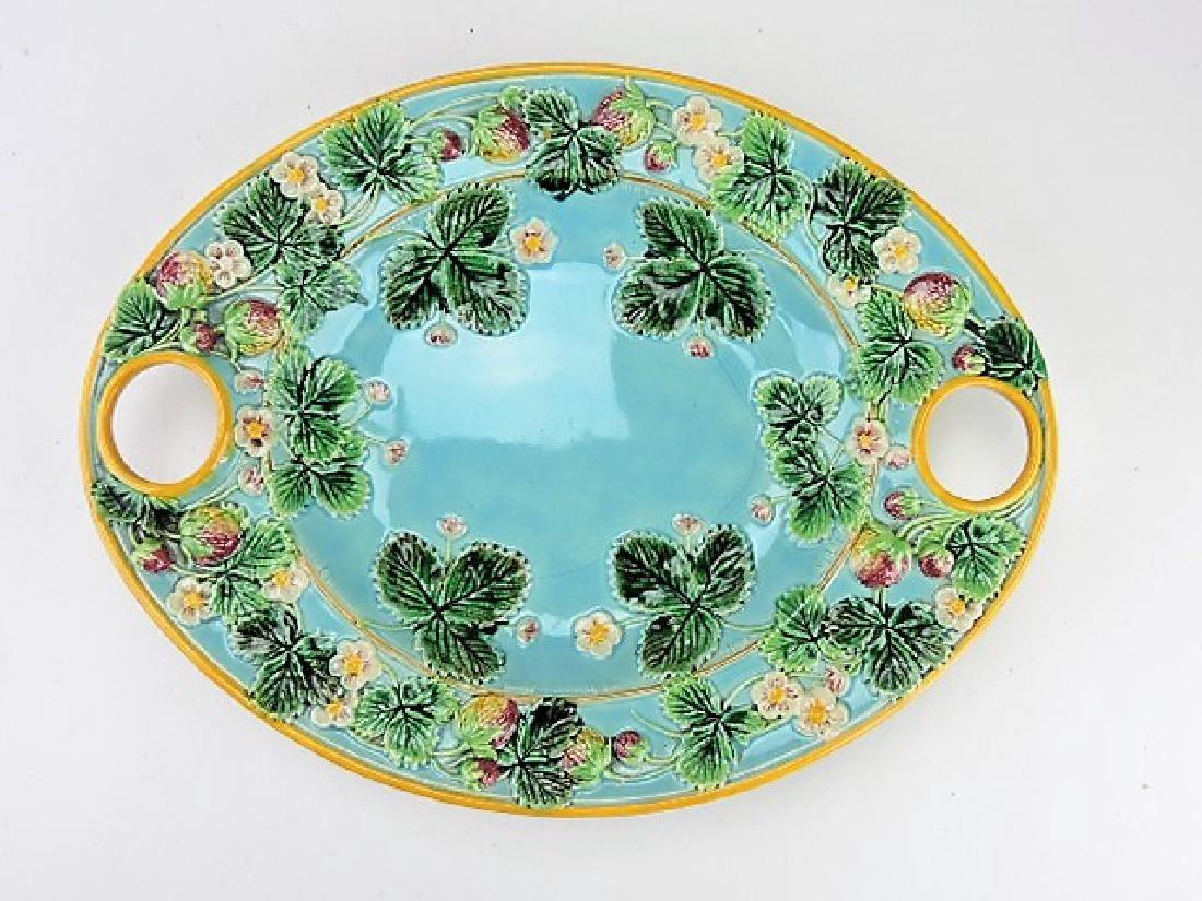 George Jones majolica strawberry platter, rim
