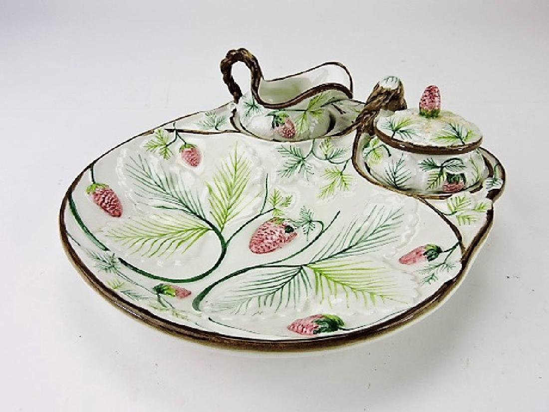 Italian majolica style strawberry server