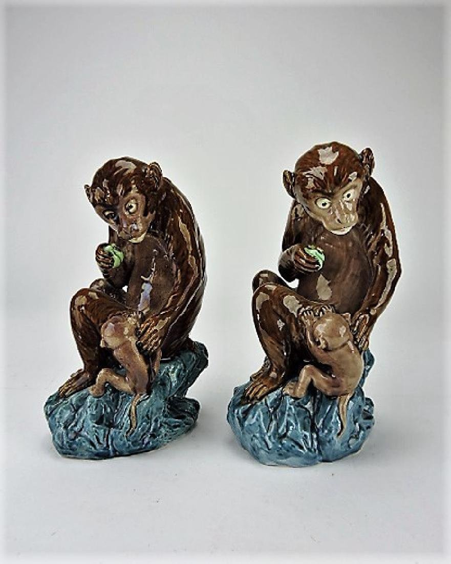 Majolica pair of monkey figures
