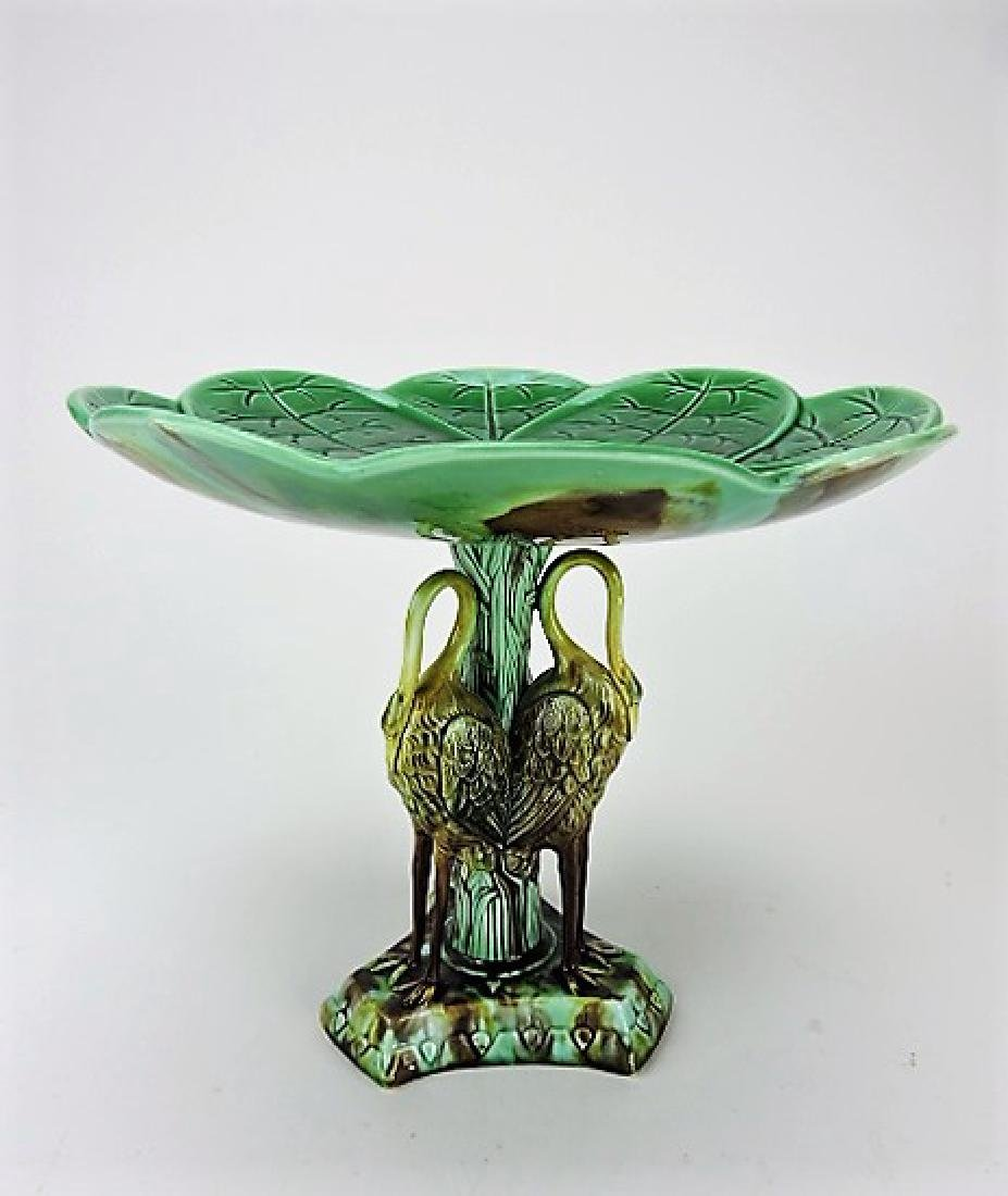 Majolica pond lily tall compote with storks on