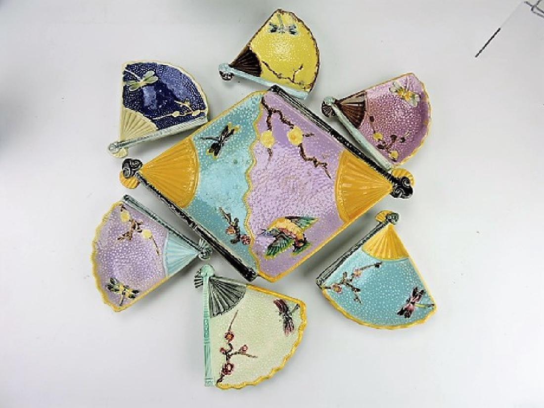 Eureka Pottery majolica bird and fan ice cream set