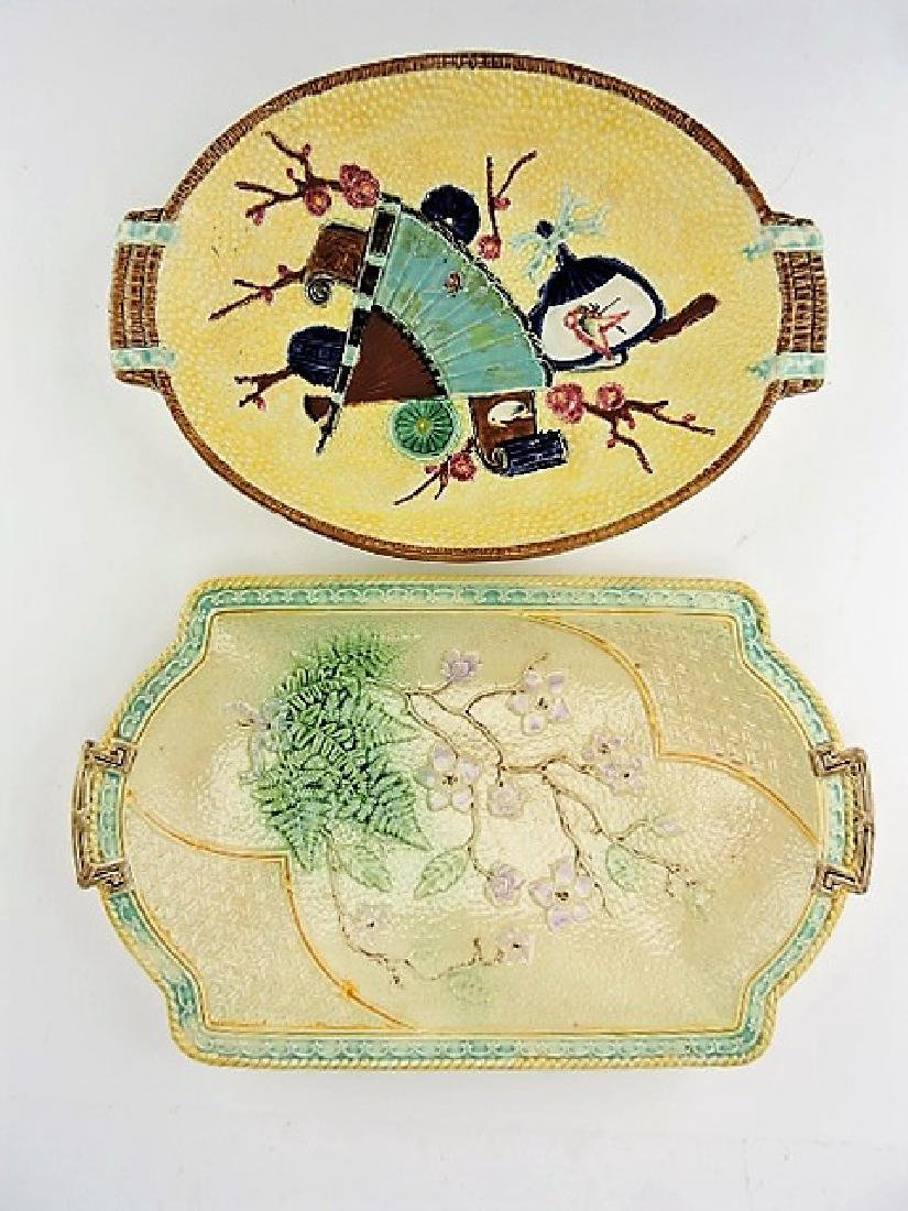 Majolica lot of 2 platters, various condition