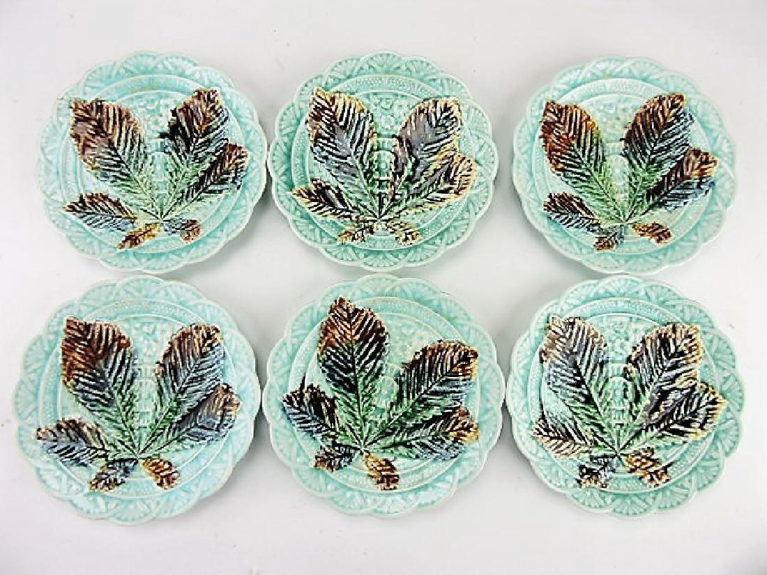"Majolica set of 6 - 6 3/4"" plates"