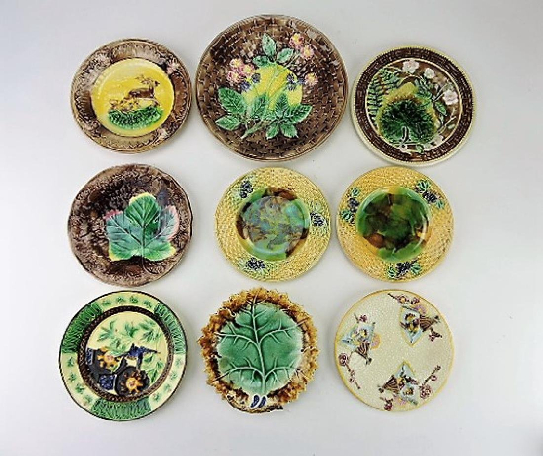 Majolica lot of 9 plates, various condition