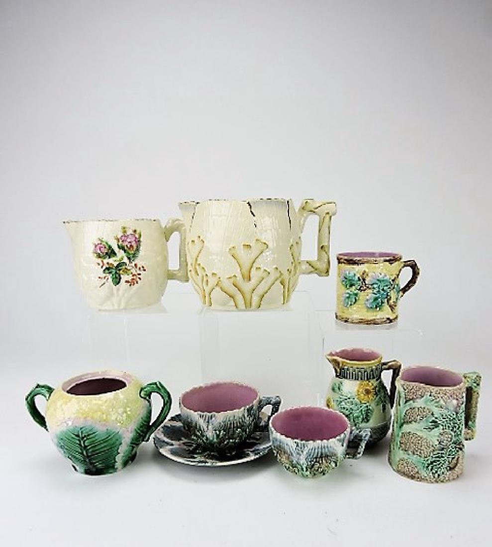 Etruscan majolica lot of 8 assorted items