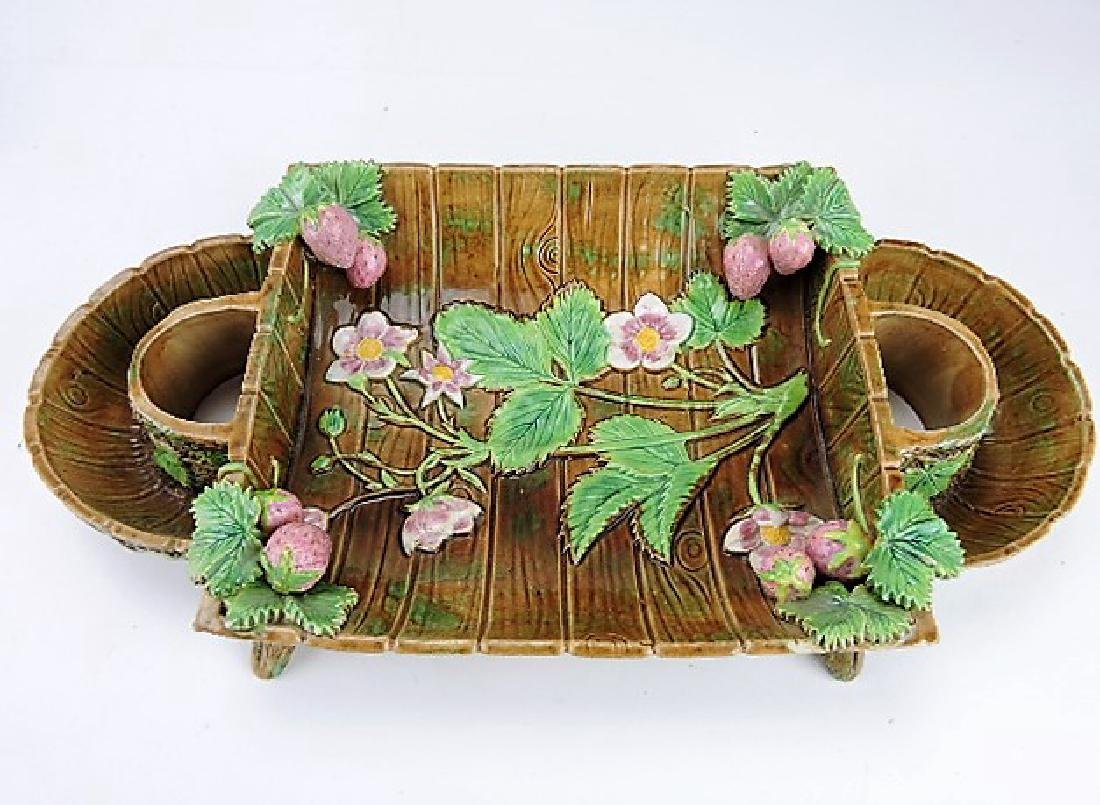 George Jones majolica strawberry server base,