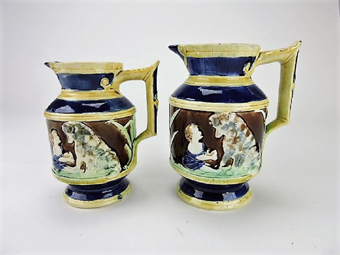 "Majolica lot of 2 ""Can't you talk"" pitchers, 7"" &"