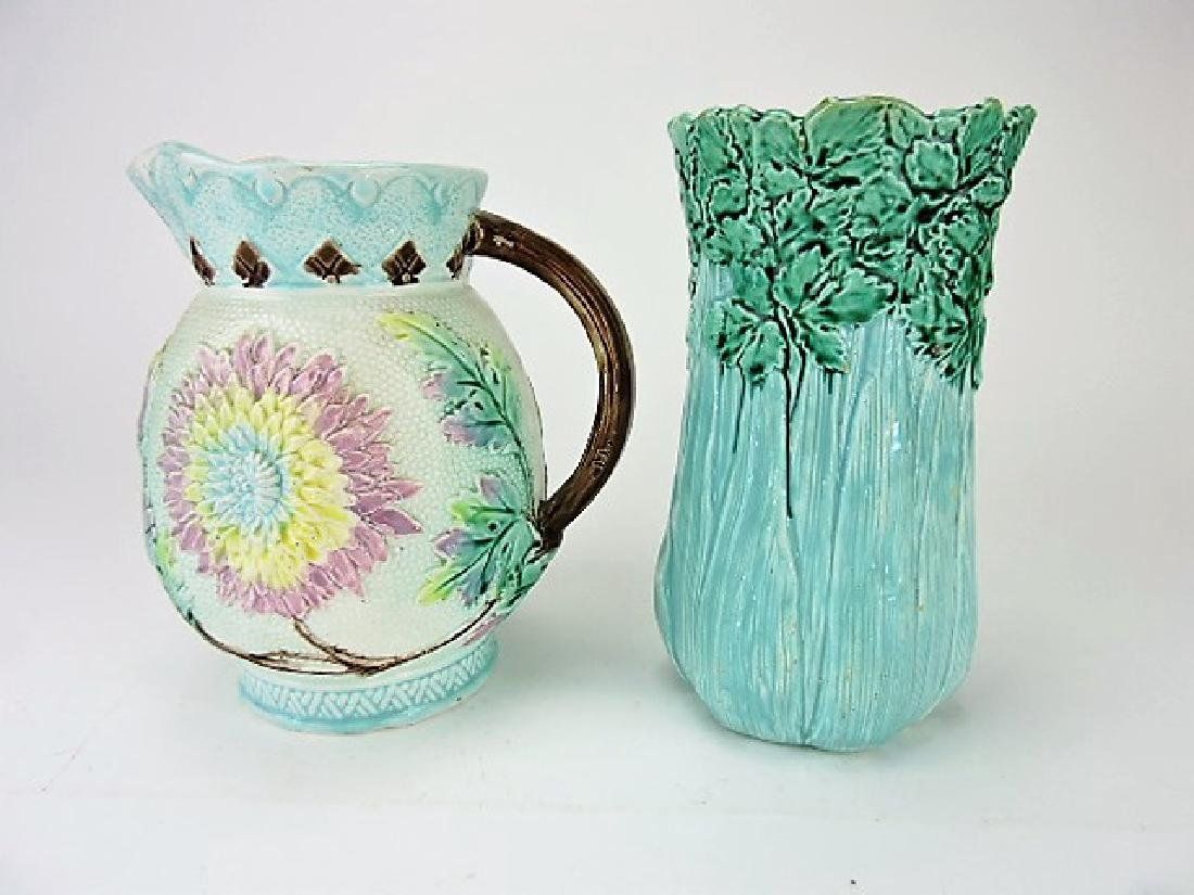 Majolica New England Aster pitcher and celery vase