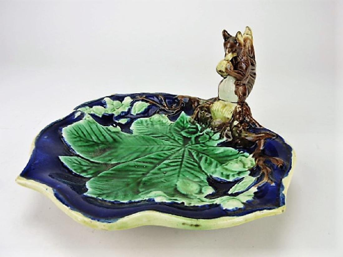 Majolica squirrel handled tray, 10""